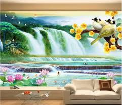 popular 3d wallpaper mountain lake buy cheap 3d wallpaper mountain custom mural 3d photo wallpaper mountain waterfall lake lotus bird painting 3d wall murals wallpaper for