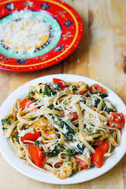 pasta recepies shrimp tomato and spinach pasta in garlic butter sauce