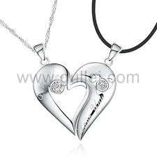 custom engraved necklace pendants custom engraved 925 sterling silver half hearts couples necklaces