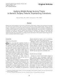original articles applying middle range nursing theory to