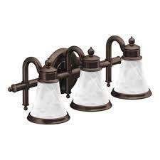 shop moen waterhill 3 light 8 3 in oil rubbed bronze globe vanity