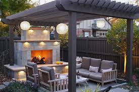 modern outdoor fireplace patio traditional with pergolas