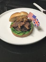 easy burger with bacon brie cranberry and caramelized