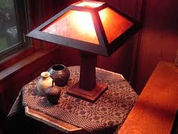 Arts And Crafts Desk Lamp Little W B Brown Style Mission Oak Lamp