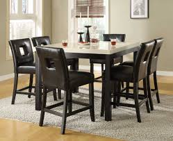 bar height dining room sets dining room six leather black chairs from counter height dining