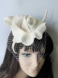 wedding fascinator toque white cream veil tulle mini hat felt