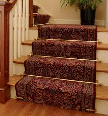 Rug Runner For Stairs Interior Ornate Carpet Runner With Border And Gold Iron Front