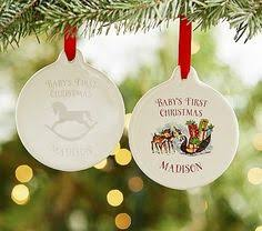 baby print ornaments pottery barn air clay cut