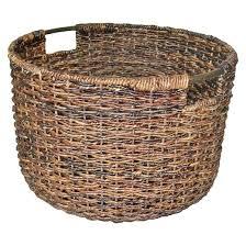 Wicker Large Round Basket Dark Brown Threshold Target