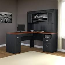 amazon com fairview l shaped desk in antique black kitchen u0026 dining