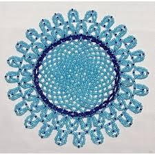 beaded home decor hand beaded doily home decor blue doily decoration hand made