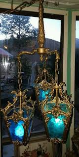 hollywood regency swag l vtg mid century gothic spanish tudor hanging swag light l