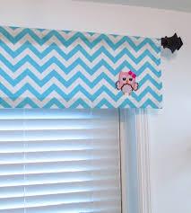 Blue Curtains For Nursery by Owl Curtain Aqua Blue Chevron Valance Kids Room Nursery Window