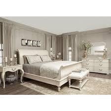 Reine French Country Antique White Queen Sleigh Bed - French home furniture