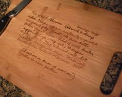 cutting board with recipe engraved handwritten recipe on cutting board engraved cutting board