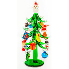 miniature christmas trees glass christmas tree with ornaments