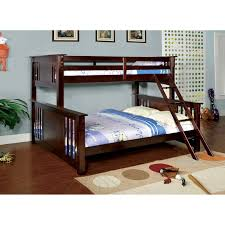 furniture of america spring twin over queen bunk bed dark walnut