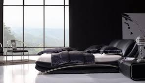 Black Leather Platform Bed Marino Modern Low Profile Platform Bed Set