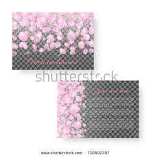 japanese wedding backdrop mock wedding invitation pink petals japanese stock vector