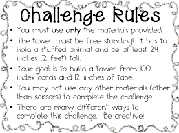 Challenge Directions Mrs Conway S Class S T E M Index Card Challenge