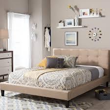 amazon com baxton studio quincy linen platform bed queen dark