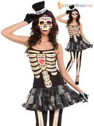 Skeleton Dress Ladies Day Of The Dead Halloween Skeleton Fancy Dress Costume Size