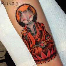 meditating cat traditional tattoo best tattoo ideas gallery