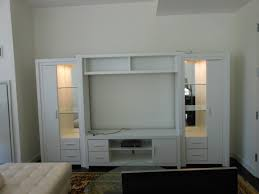 Entertainment Storage Cabinets Furniture Compact White Painted Wooden Media Center With Lighted