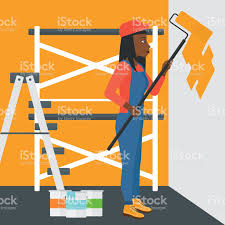 painter with paint roller stock vector art 511379316 istock can cartoon design equipment flat painter with paint roller