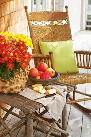 closeup of country porch outdoors with apple still life on rustic