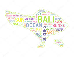 World Cloud Map by Word Cloud Bali Map Shape Colorful Vector Illustration U2014 Stock