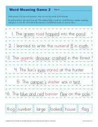 context clues worksheets for 1st grade word meaning game 2