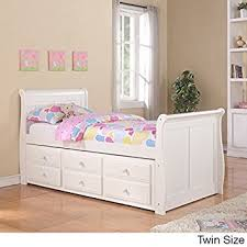 amazon com twin sleigh captains bed with twin trundle and storage