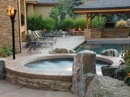 outdoor space design with wonderful round underground tub