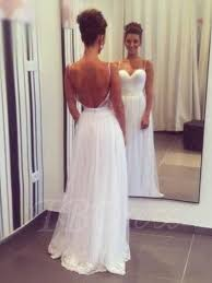 beach backless spaghetti straps tulle a line wedding dress