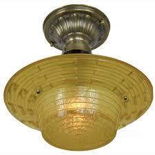 Antique Brass Bathroom Light Fixtures by Antique Amber Glass Art Deco Bowl Shade Ceiling Light Fixture