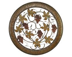 grapes round metal wall hanging