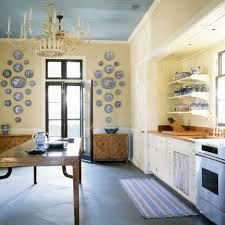 kitchen entrancing blue and yellow kitchen decoration using light