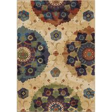 shop orian rugs suzzanni cream multi rectangular indoor machine