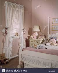 bed room bedroom set interior wallpaper curtains teddy bears soft