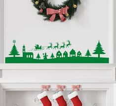 christmas village scene wall art sticker