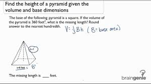 2 1 2 find the height of a pyramid given the volume and base