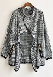 Drape Cardigan Pattern Grey Draped Collar Tribal Pattern Cardigan Sheinside Com