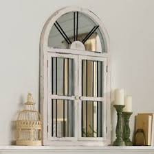 rustic vintage arched windowpane mirror distressed wood shabby