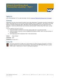 sap crm technical consultant resume transaction launcher