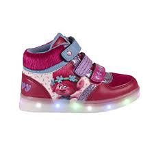 trolls light up shoes trolls poppy girls kids trainers hi tops led light up velcro pumps