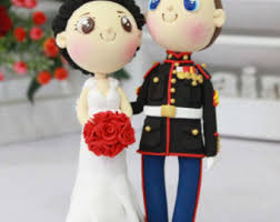 wedding cake topper us marine with his beautiful wife and