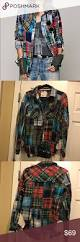 free people lost in plaid patchwork flannel sz s flannels