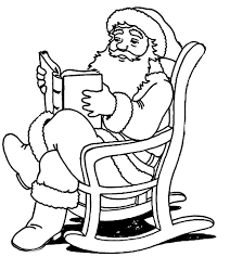 santa claus reading christmas story book coloring pages coloring sky