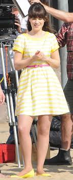 zooey deschanel new girl fashion wwzdw what would zooey deschanel s yellow striped dress on new girl wwzdw what